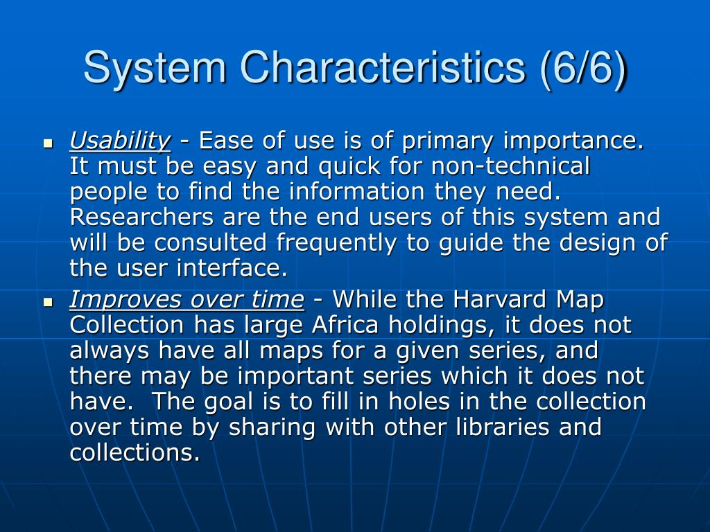 System Characteristics (6/6)