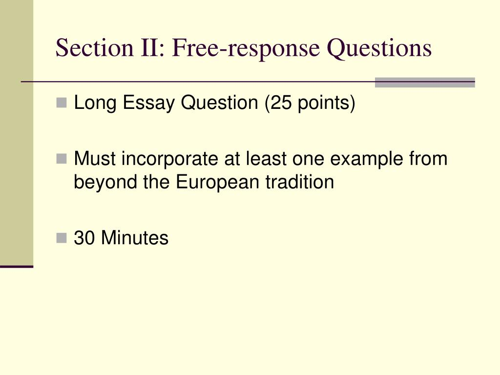Section II: Free-response Questions