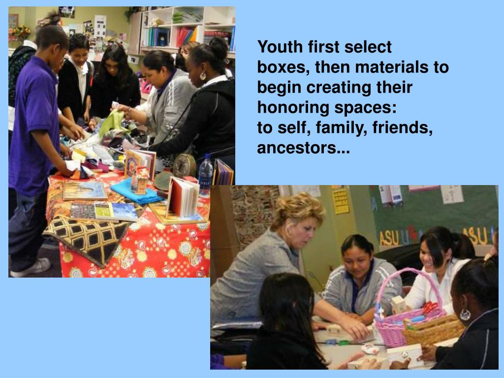 Youthfirst select boxes,then materials to begin creating their honoring spaces: