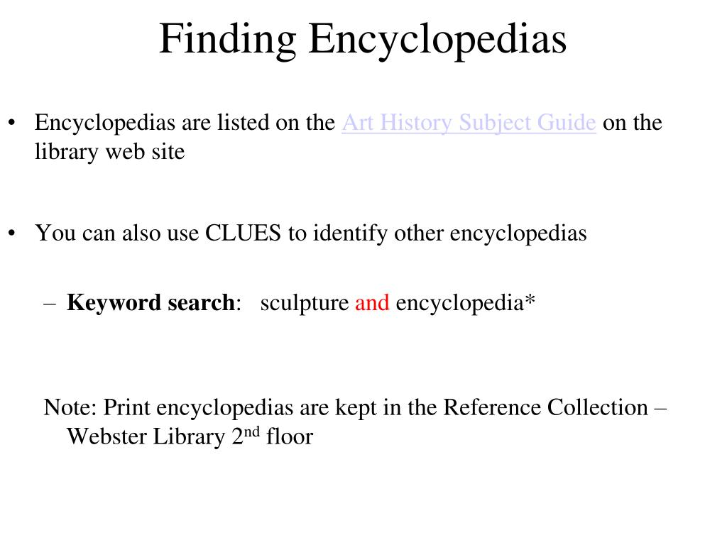 Finding Encyclopedias