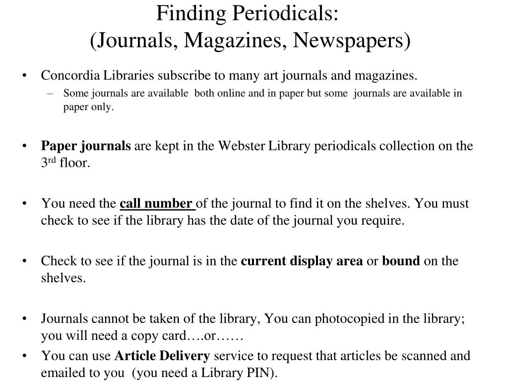 Finding Periodicals: