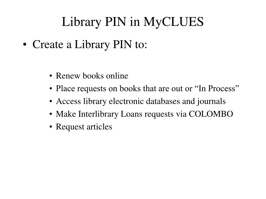 Library PIN in MyCLUES