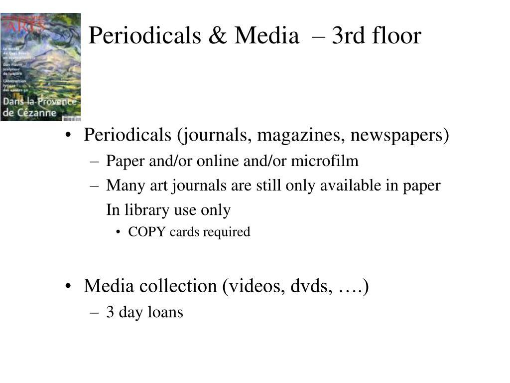 Periodicals & Media  – 3rd floor