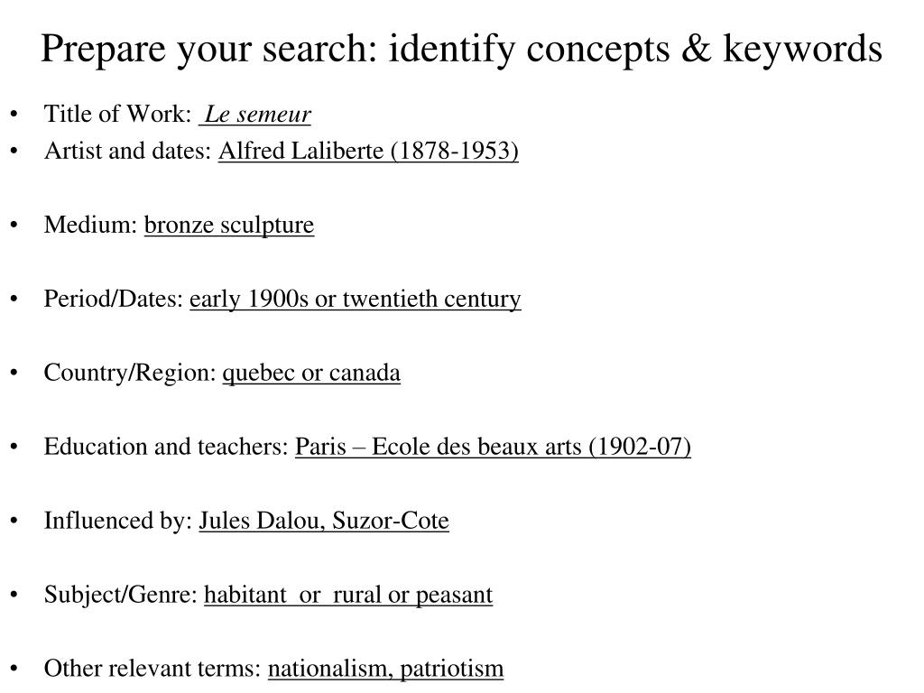 Prepare your search: identify concepts & keywords