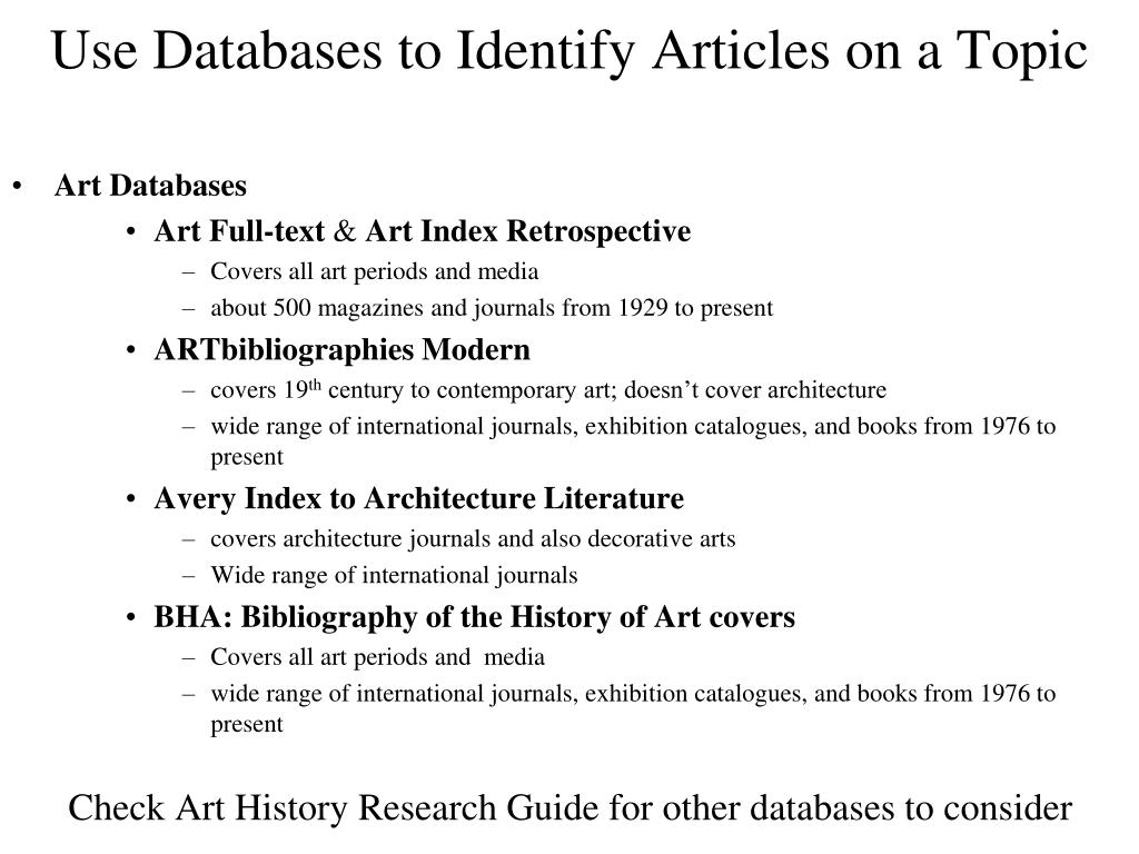 Use Databases to Identify Articles on a Topic