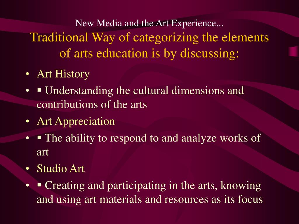 New Media and the Art Experience...