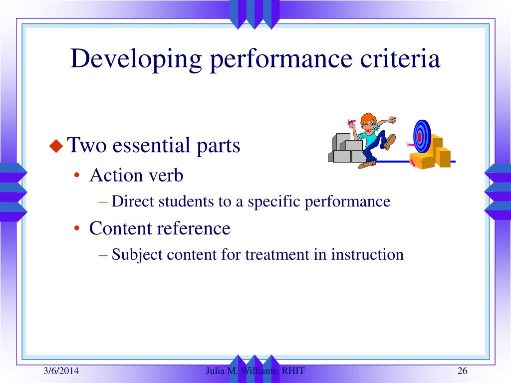 Developing performance criteria