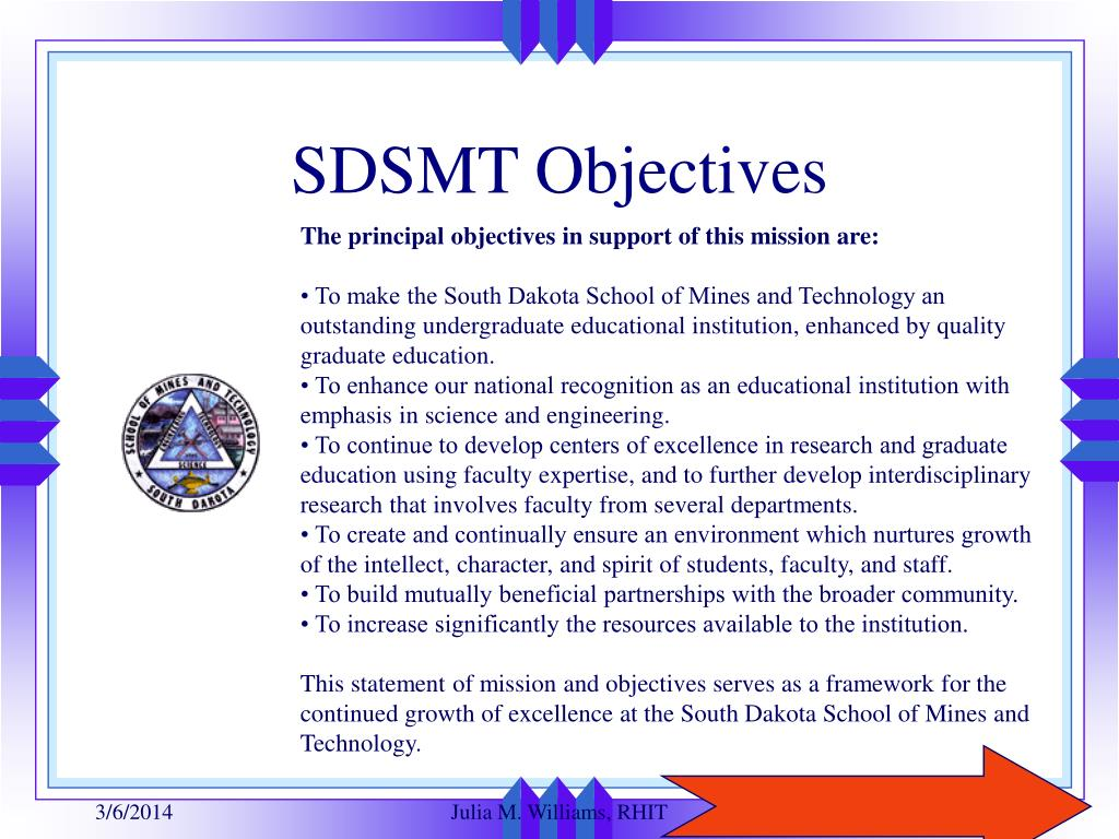 SDSMT Objectives