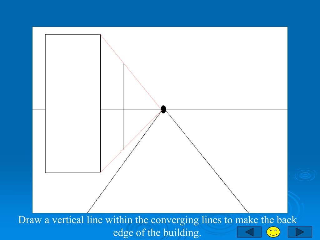 Draw a vertical line within the converging lines to make the back edge of the building.
