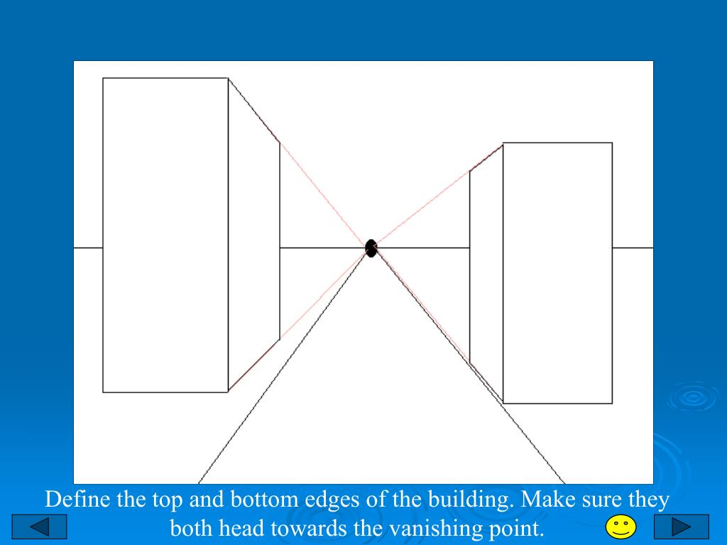 Define the top and bottom edges of the building. Make sure they both head towards the vanishing point.