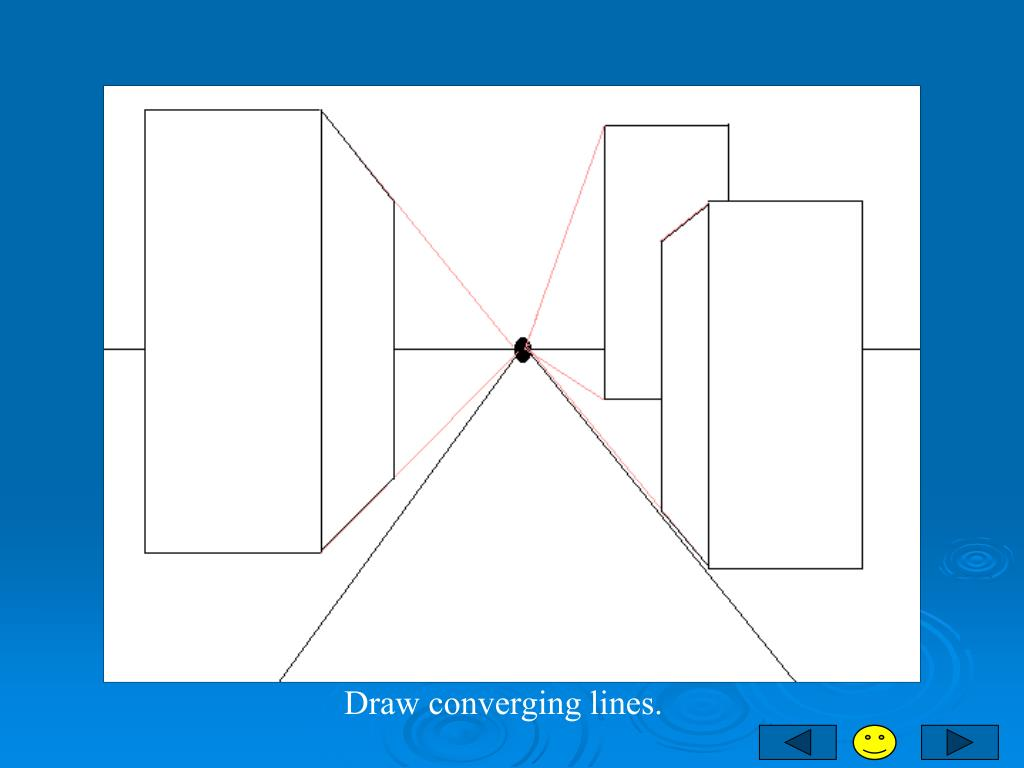 Draw converging lines.