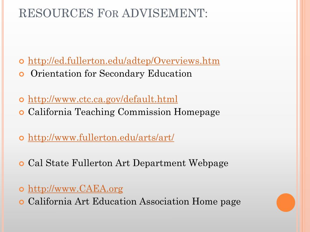 RESOURCES For ADVISEMENT: