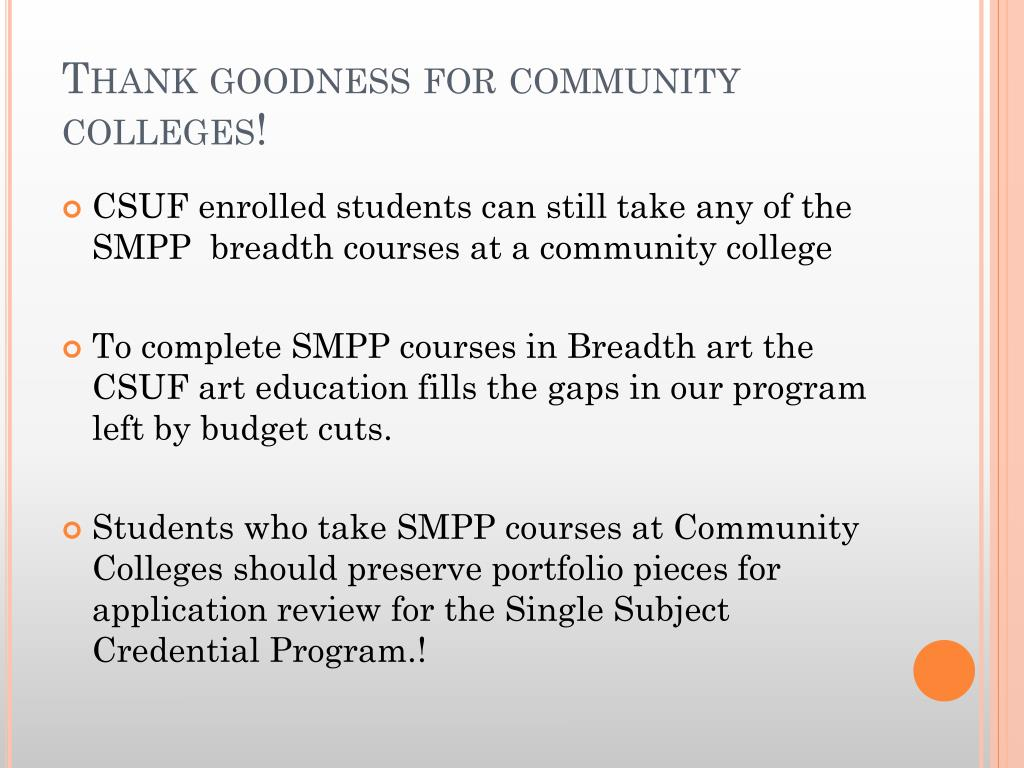 Thank goodness for community colleges!