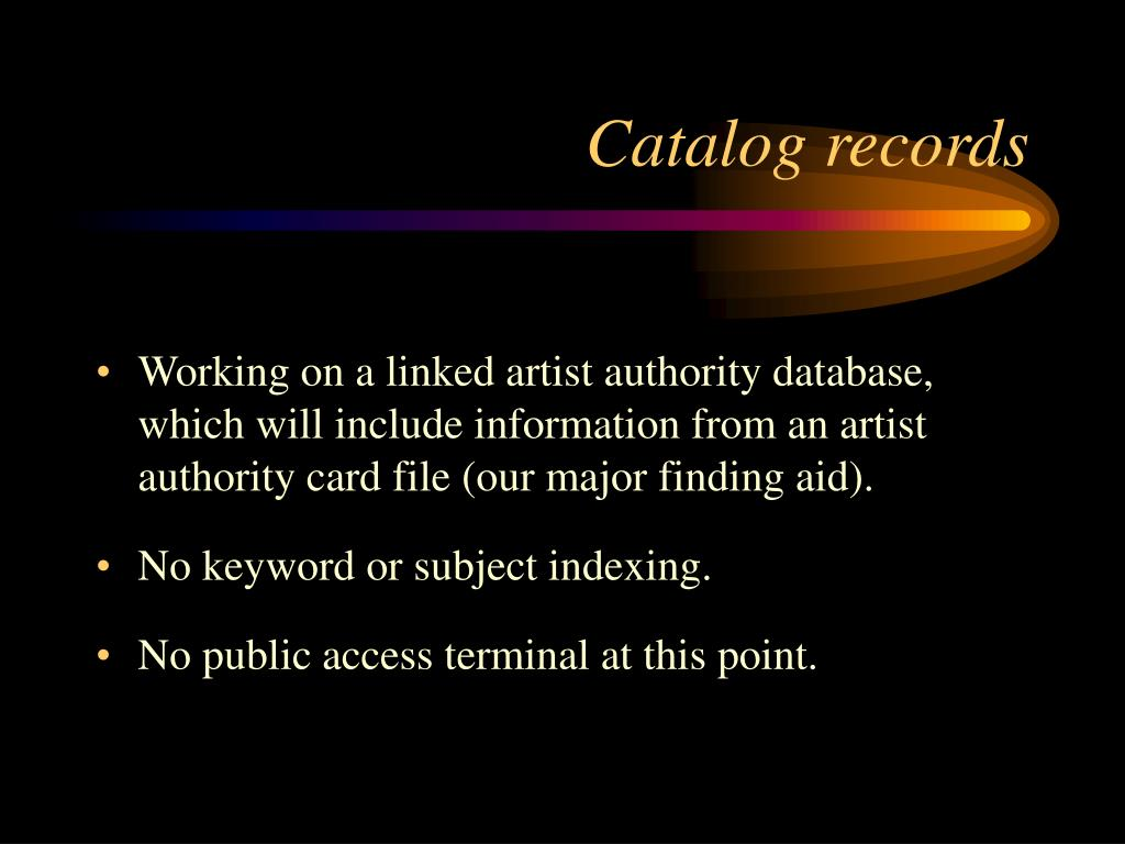 Catalog records