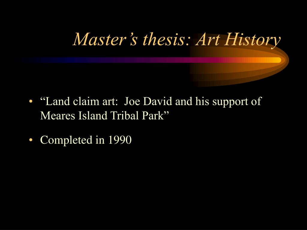 Master's thesis: Art History