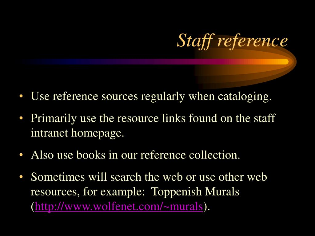 Staff reference