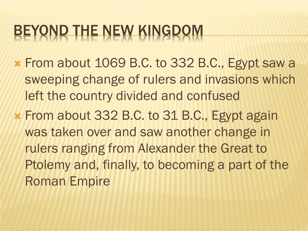 From about 1069 B.C. to 332 B.C., Egypt saw a sweeping change of rulers and invasions which left the country divided and confused