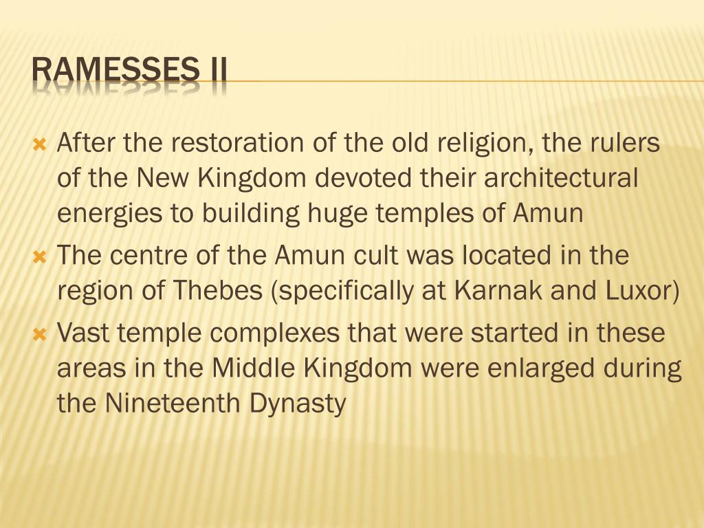 After the restoration of the old religion, the rulers of the New Kingdom devoted their architectural energies to building huge temples of