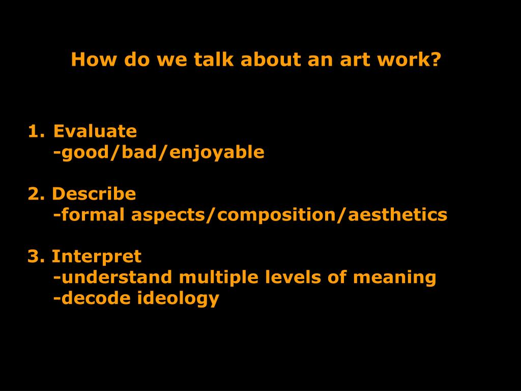 How do we talk about an art work?