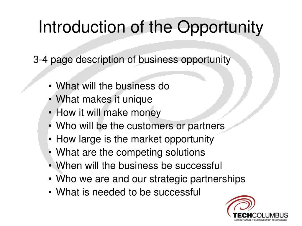 Introduction of the Opportunity