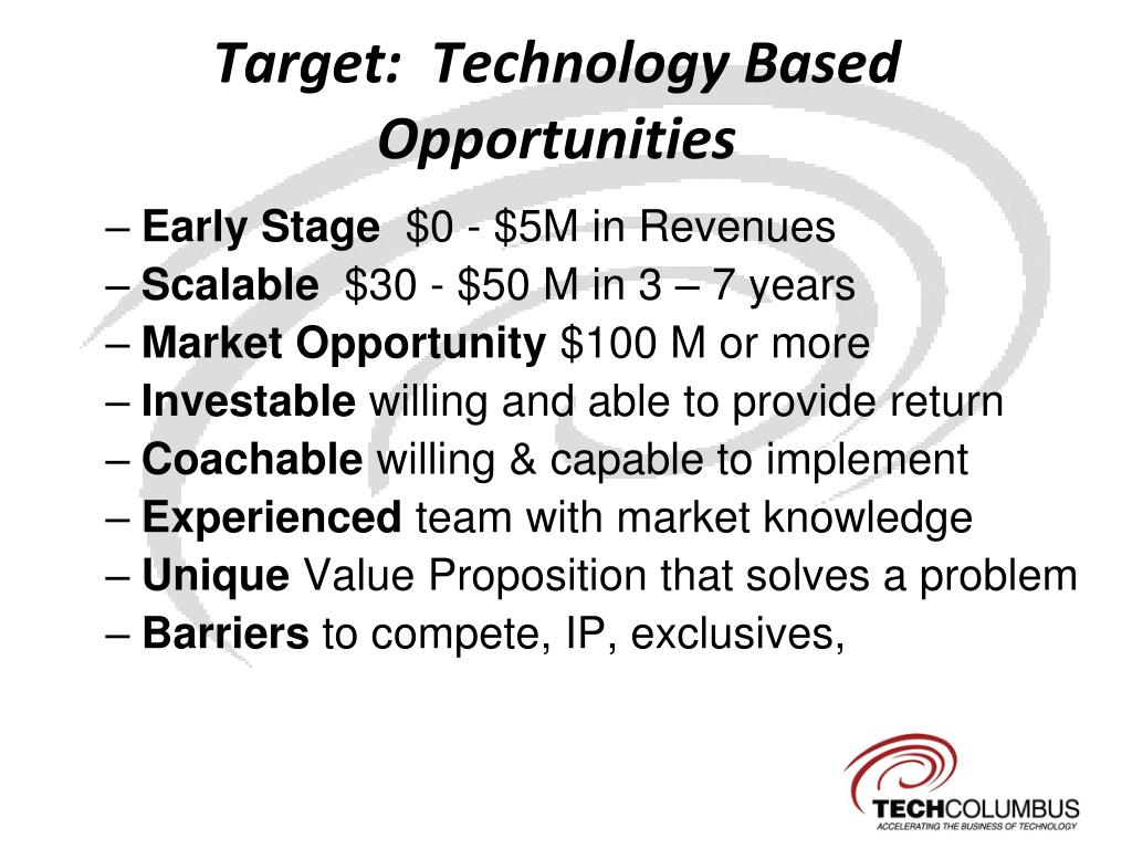 Target:  Technology Based Opportunities
