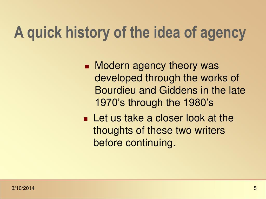 A quick history of the idea of agency
