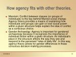 how agency fits with other theories