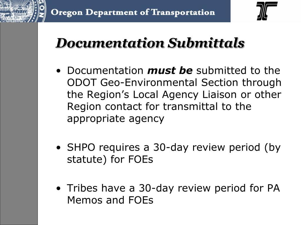 Documentation Submittals