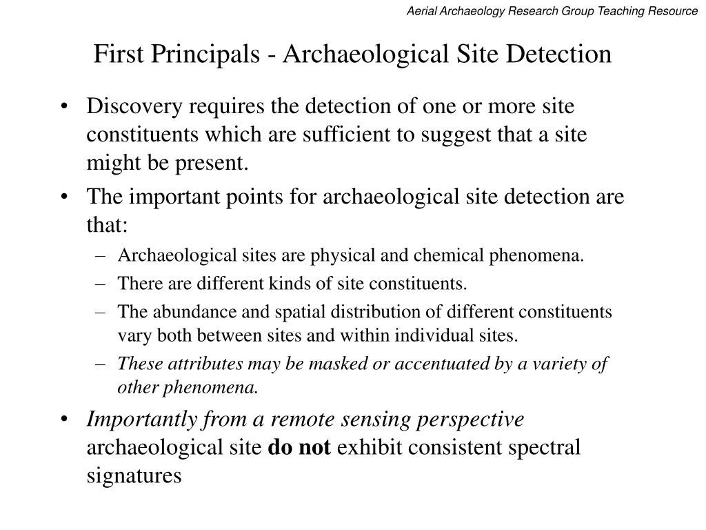 First Principals - Archaeological Site Detection