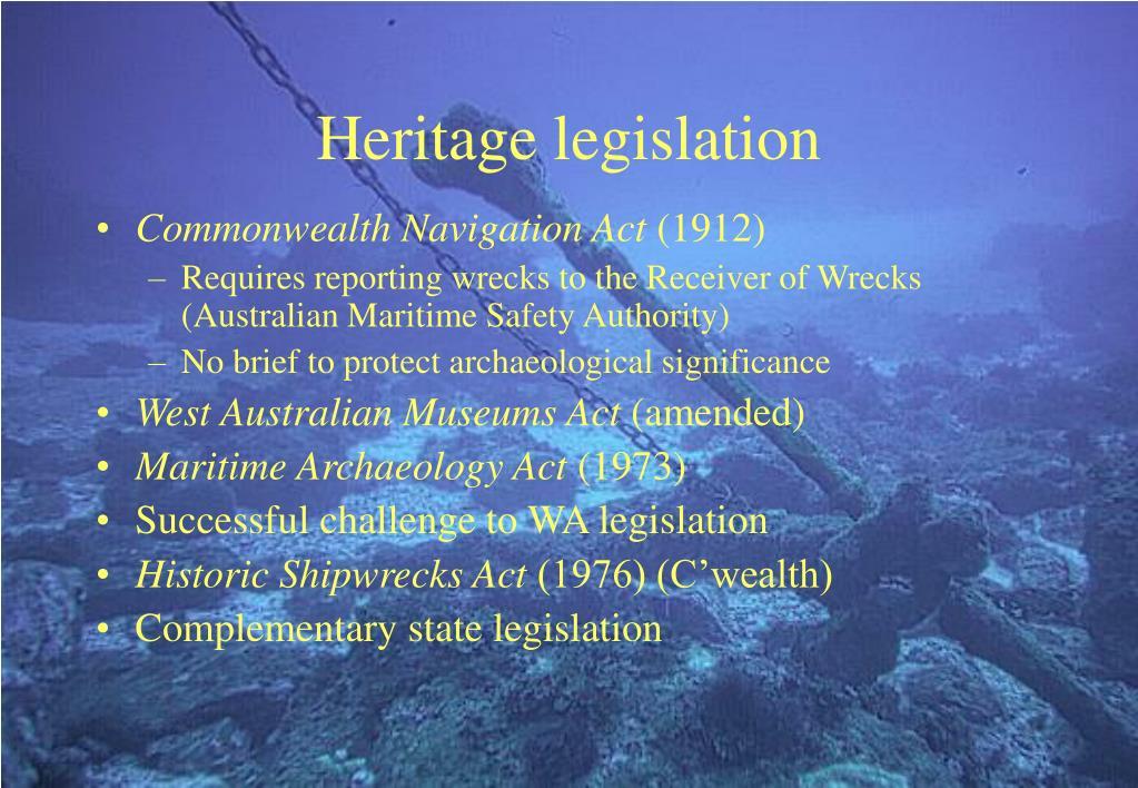 Heritage legislation