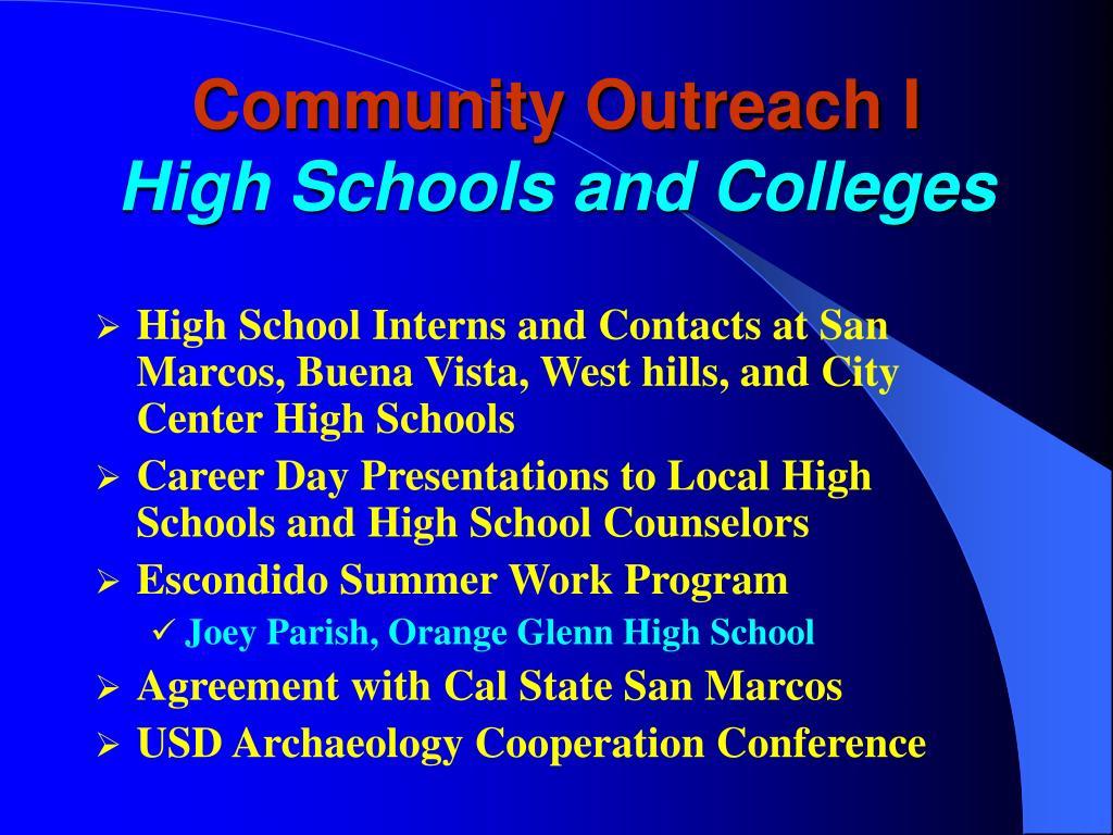 Community Outreach I