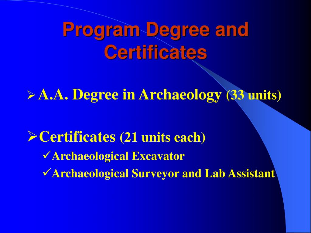 Program Degree and Certificates