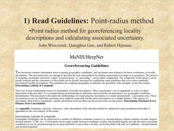1 read guidelines point radius method