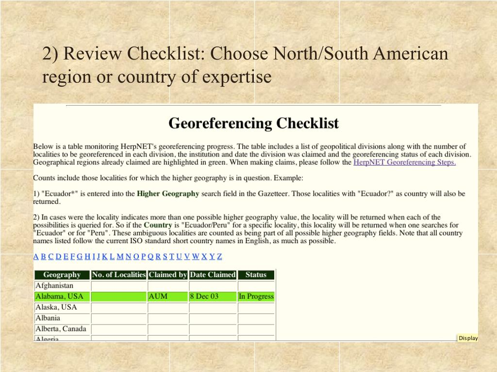 2) Review Checklist: Choose North/South American region or country of expertise