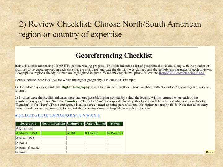 2 review checklist choose north south american region or country of expertise