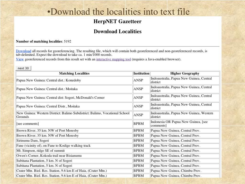 Download the localities into text file