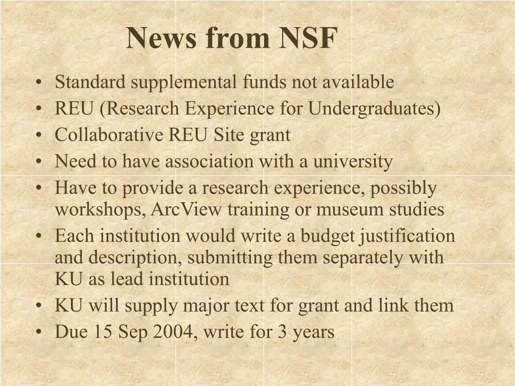 News from NSF