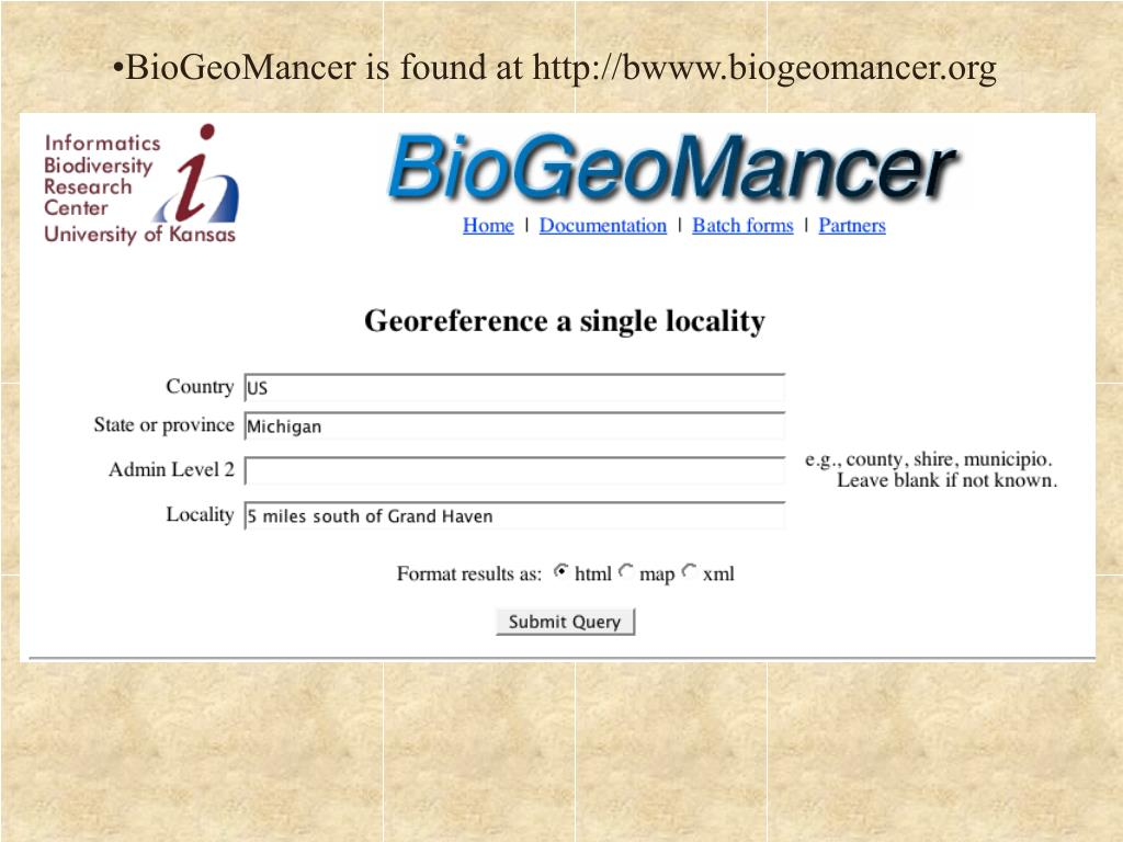 BioGeoMancer is found at http://bwww.biogeomancer.org