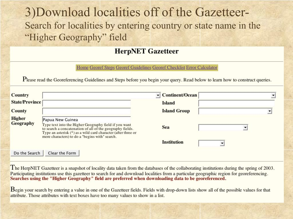 3)Download localities off of the Gazetteer-