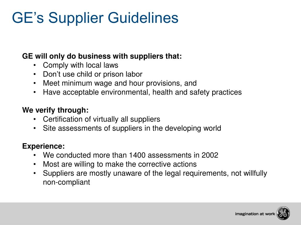 GE's Supplier Guidelines