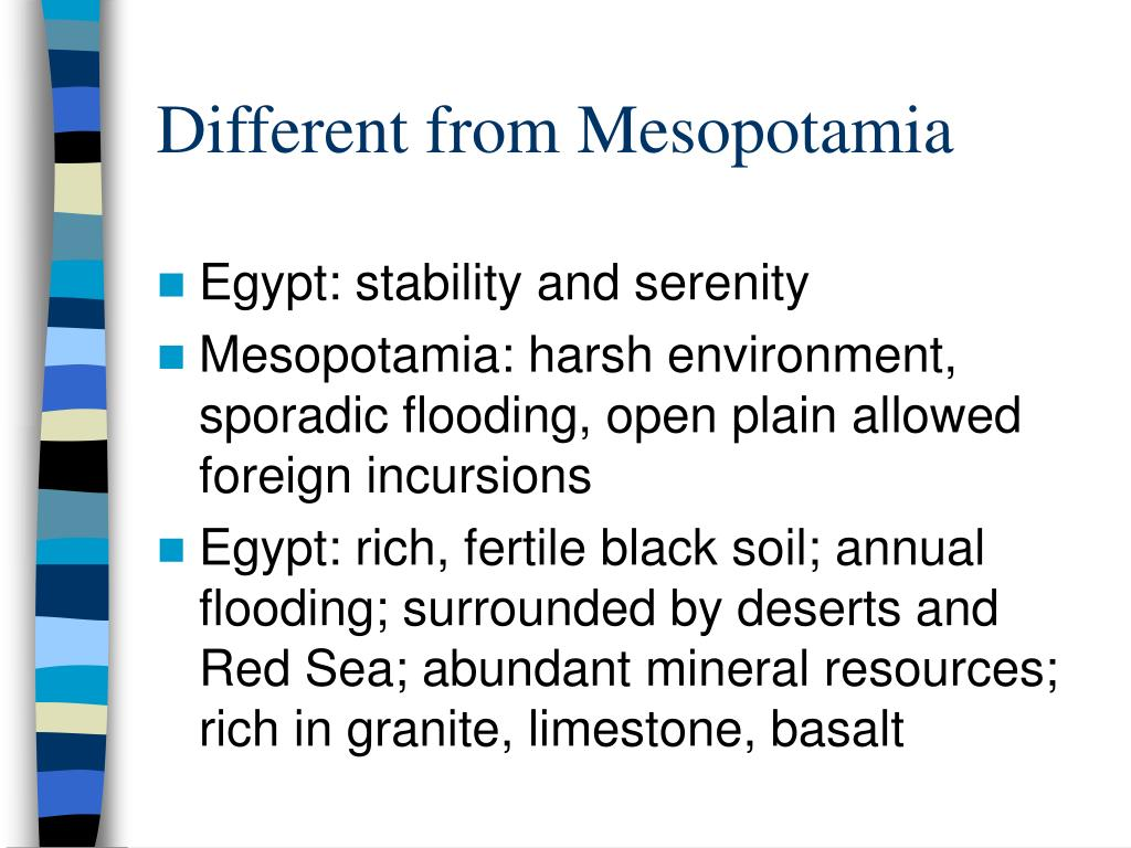 Different from Mesopotamia