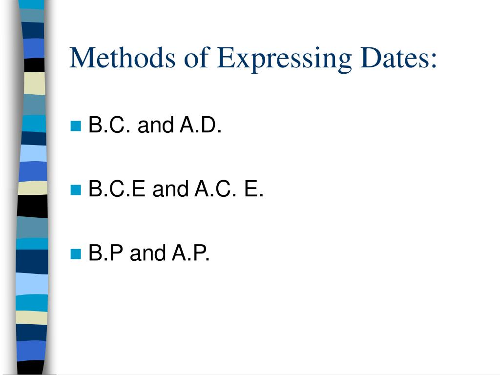 Methods of Expressing Dates: