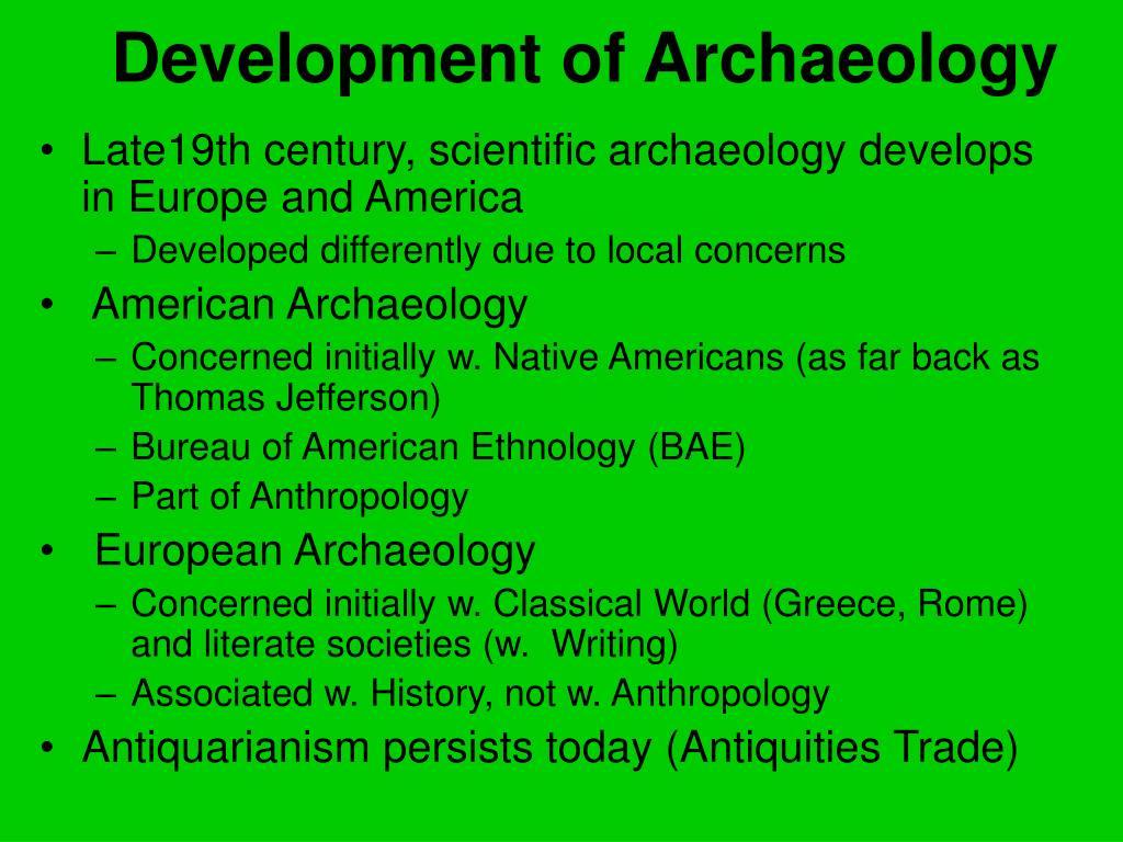 Development of Archaeology