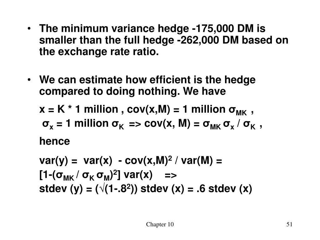The minimum variance hedge -175,000 DM is smaller than the full hedge -262,000 DM based on the exchange rate ratio.