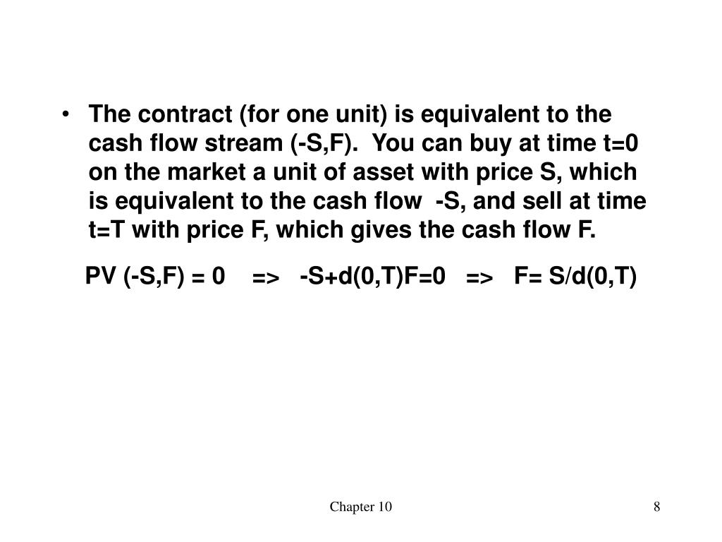 The contract (for one unit) is equivalent to the cash flow stream (-S,F).  You can buy at time t=0 on the market a unit of asset with price S, which is equivalent to the cash flow  -S, and sell at time t=T with price F, which gives the cash flow F.