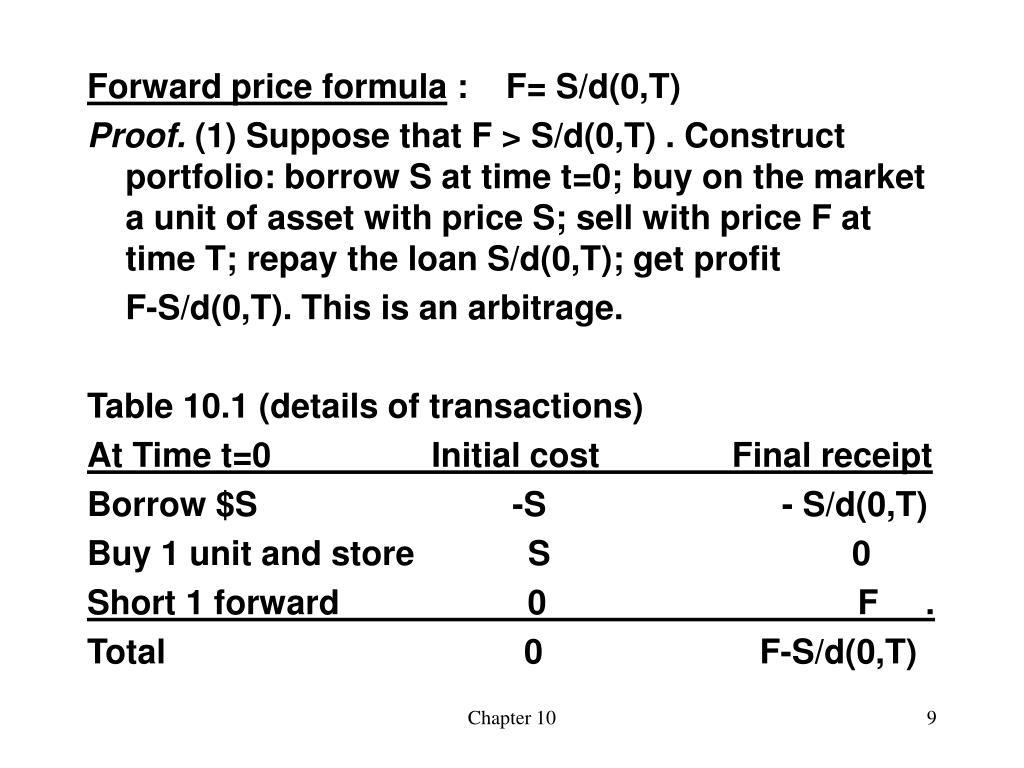 Forward price formula
