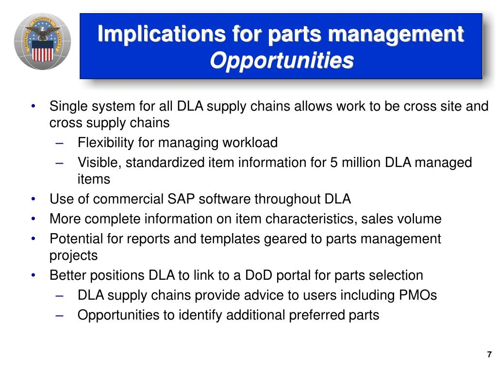 Implications for parts management