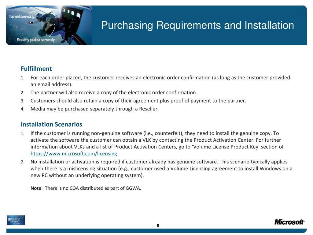 Purchasing Requirements and Installation