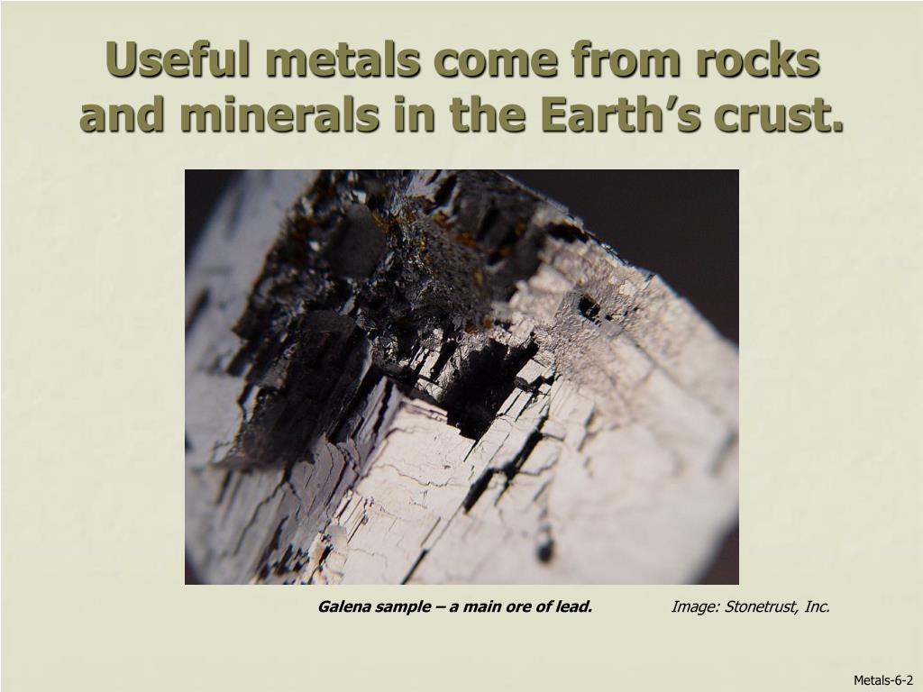 Useful metals come from rocks and minerals in the Earth's crust.
