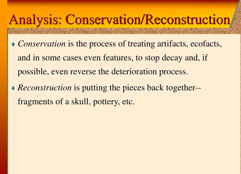 Analysis: Conservation/Reconstruction